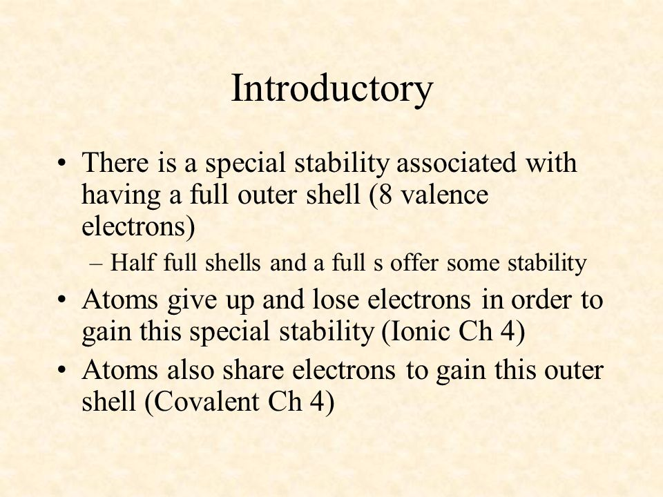 04/10/99 Introductory. There is a special stability associated with having a full outer shell (8 valence electrons)