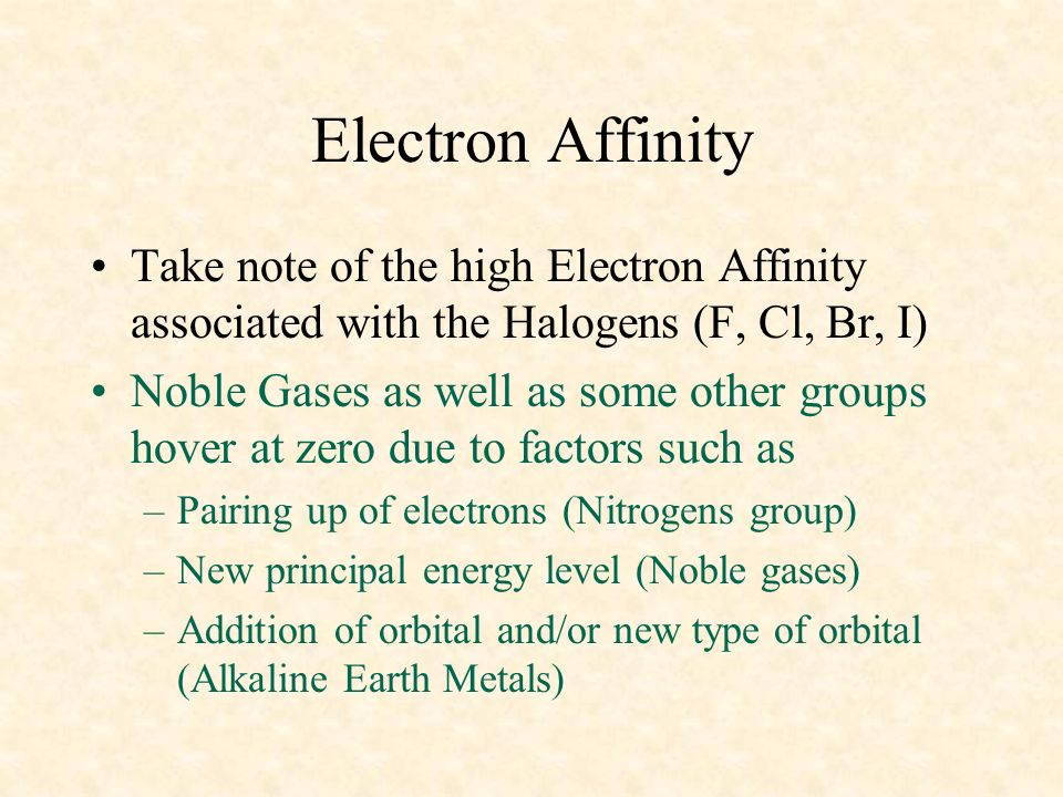 04/10/99 Electron Affinity. Take note of the high Electron Affinity associated with the Halogens (F, Cl, Br, I)