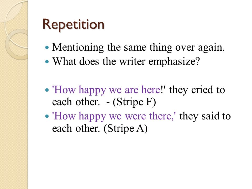 Repetition Mentioning the same thing over again.