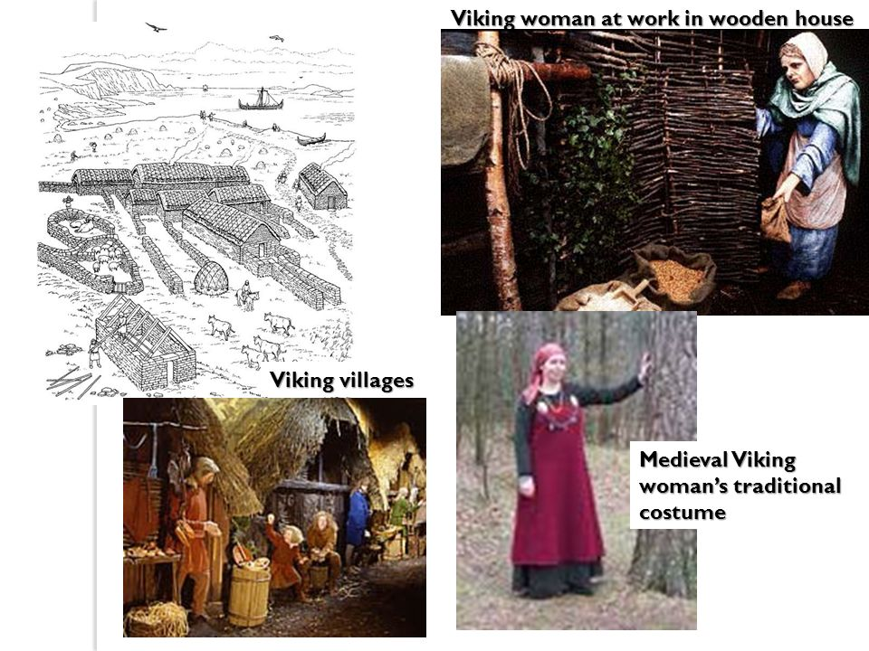 Viking woman at work in wooden house