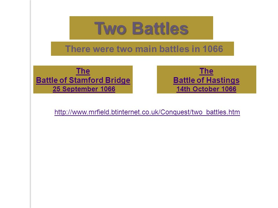 There were two main battles in 1066 The Battle of Stamford Bridge