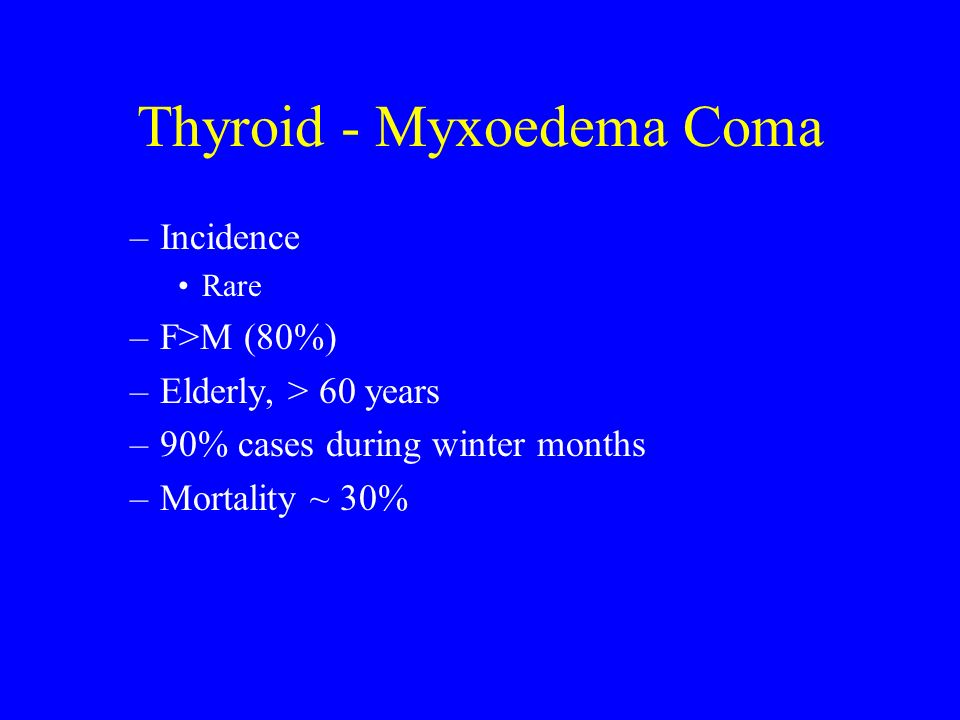 Thyroid - Myxoedema Coma