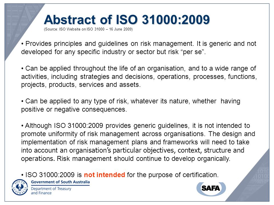 Abstract of ISO 31000:2009 (Source: ISO Website on ISO 31000 – 16 June 2009)