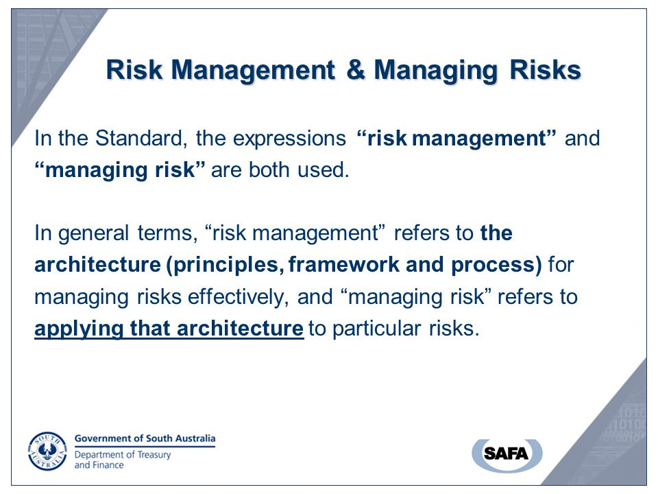 Risk Management & Managing Risks