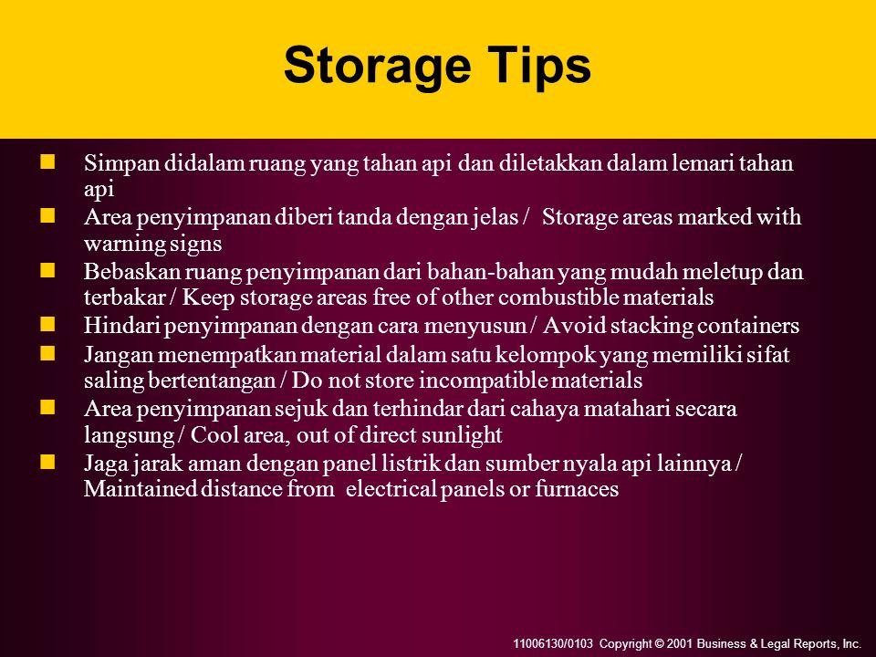 Storage Tips Simpan didalam ruang yang tahan api dan diletakkan dalam lemari tahan api.