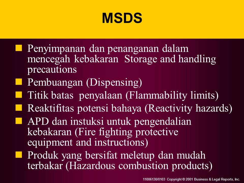 MSDS Penyimpanan dan penanganan dalam mencegah kebakaran Storage and handling precautions. Pembuangan (Dispensing)