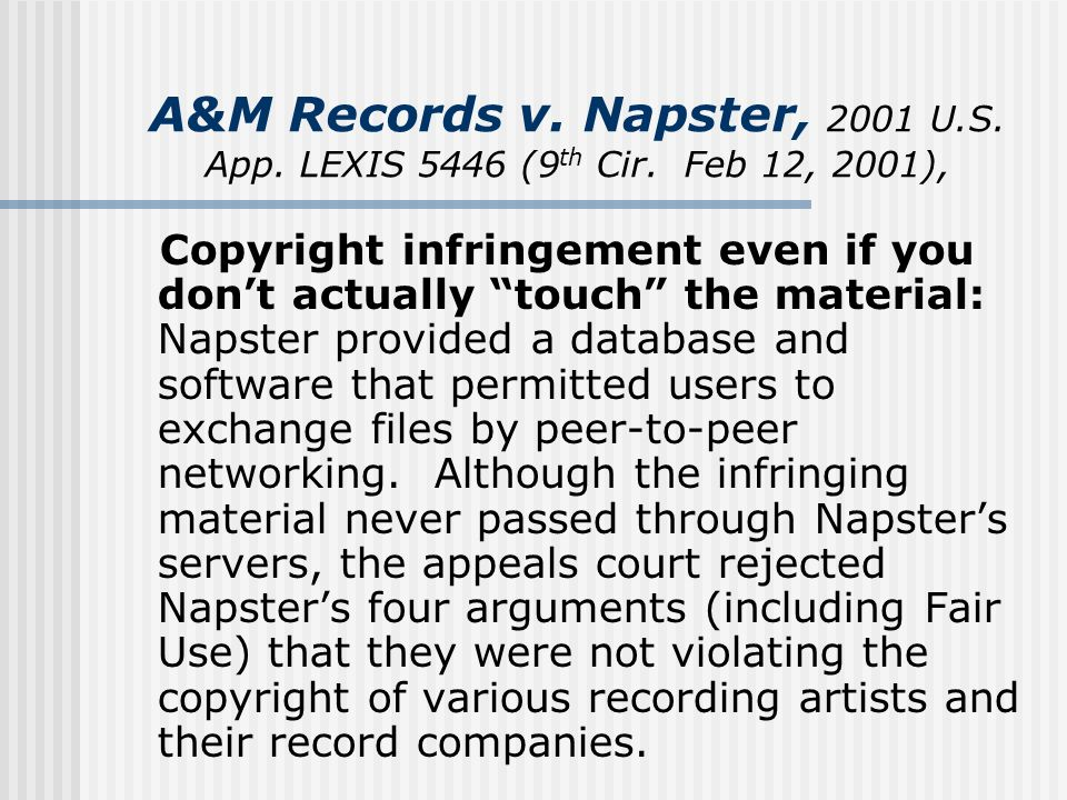the issue with music copyrights and napster software Napster and the recording industry continue to spar over copyrights vs technology vs control as the court decides the online music provider's fate.