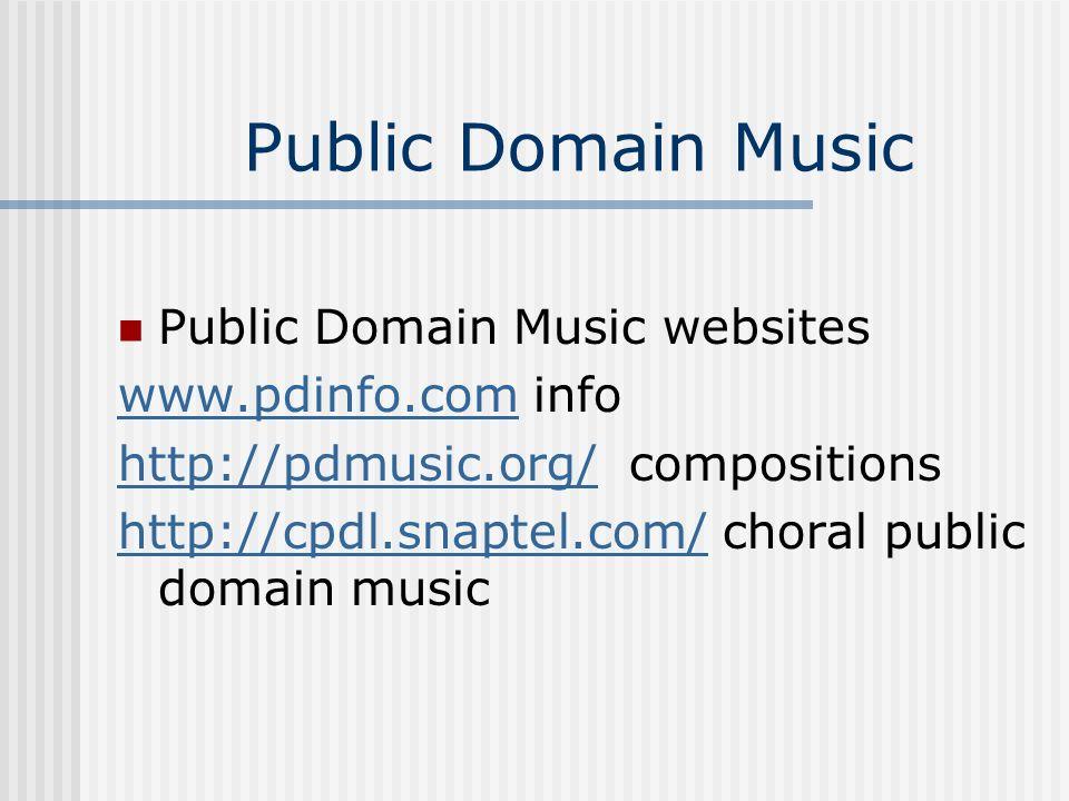Public Domain Music Public Domain Music websites www.pdinfo.com info