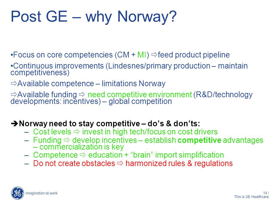Post GE – why Norway Focus on core competencies (CM + MI) feed product pipeline.
