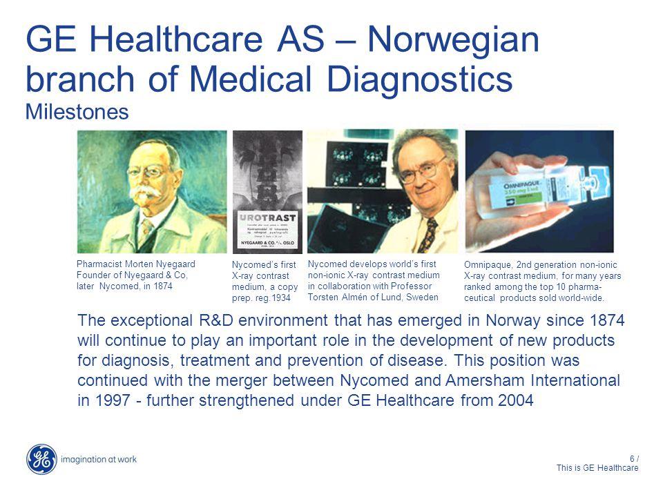GE Healthcare AS – Norwegian branch of Medical Diagnostics Milestones