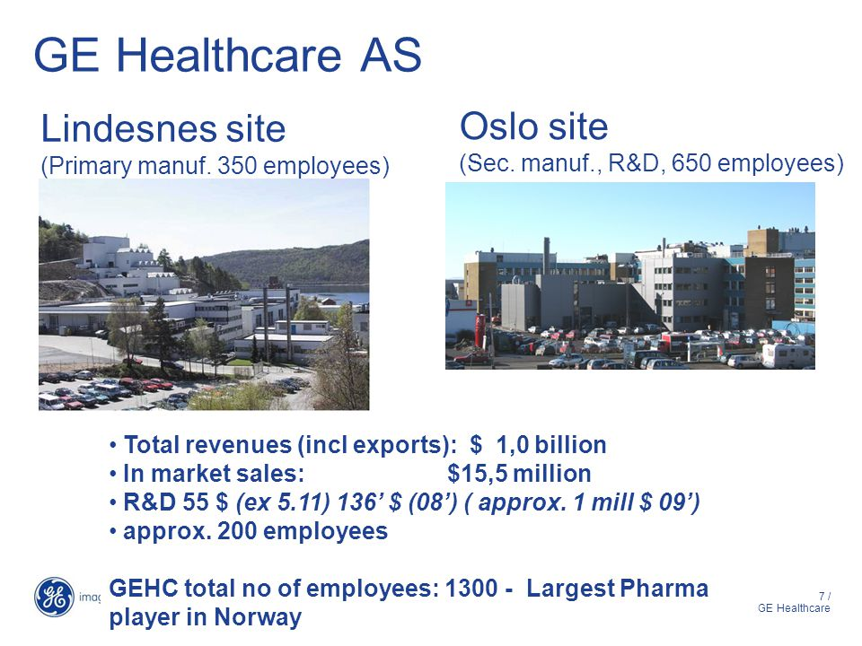 GE Healthcare AS Lindesnes site Oslo site