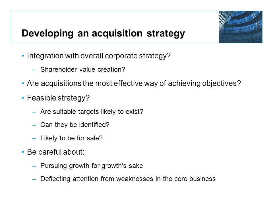 Developing an acquisition strategy