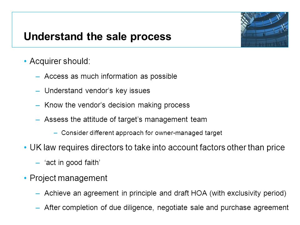 Understand the sale process