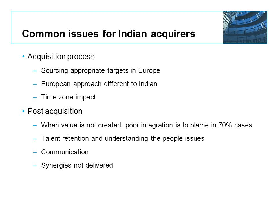 Common issues for Indian acquirers