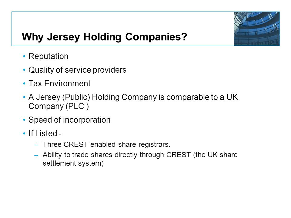 Why Jersey Holding Companies