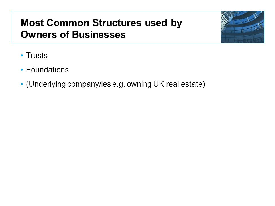 Most Common Structures used by Owners of Businesses