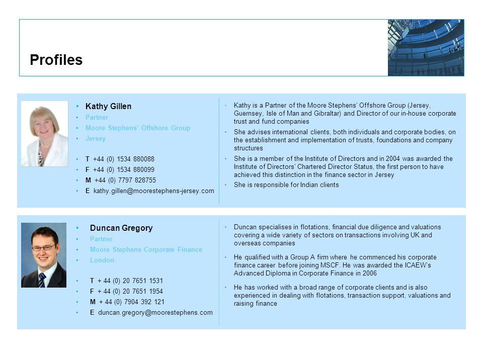 Profiles Kathy Gillen Duncan Gregory