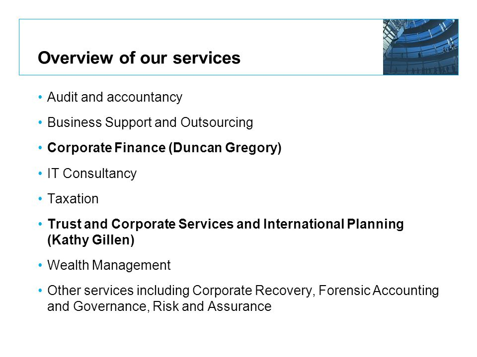 Overview of our services