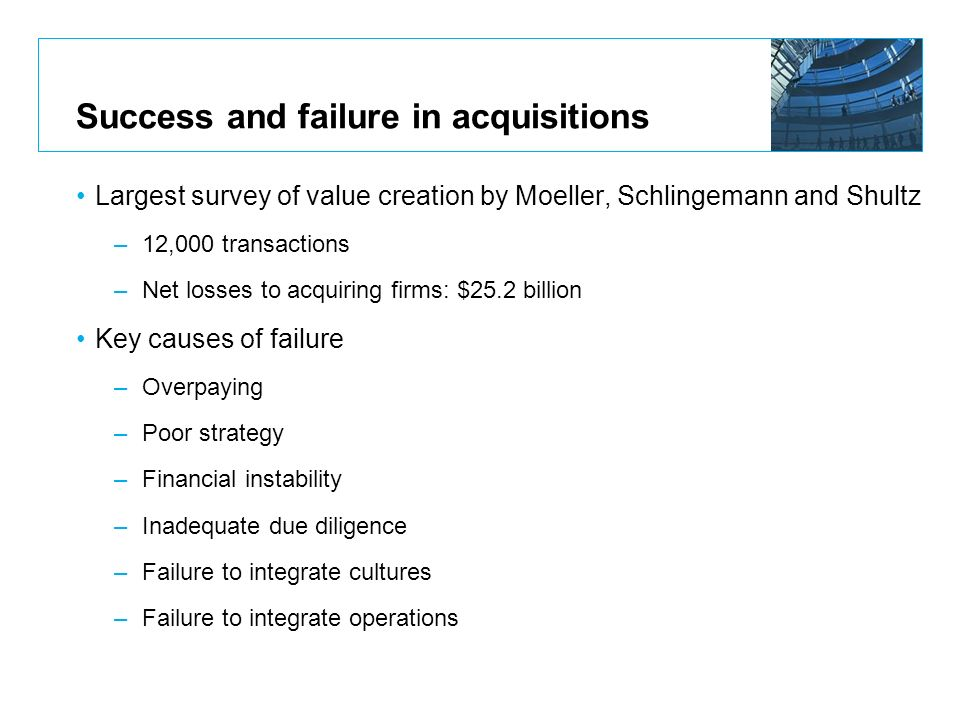 Success and failure in acquisitions