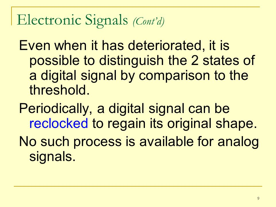 Electronic Signals (Cont'd)