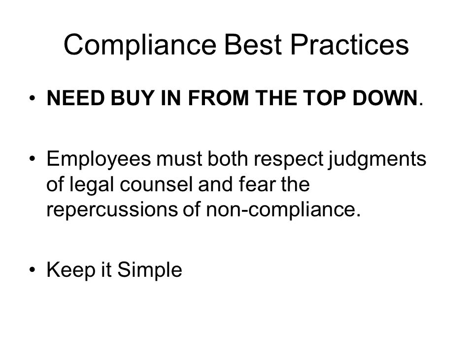 Compliance Best Practices