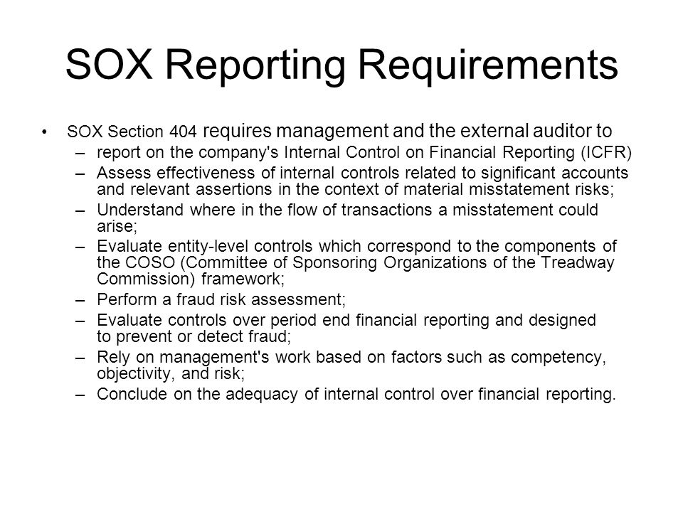 SOX Reporting Requirements