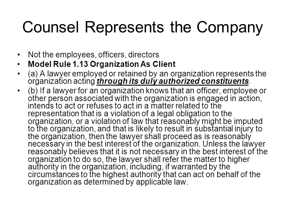 Counsel Represents the Company