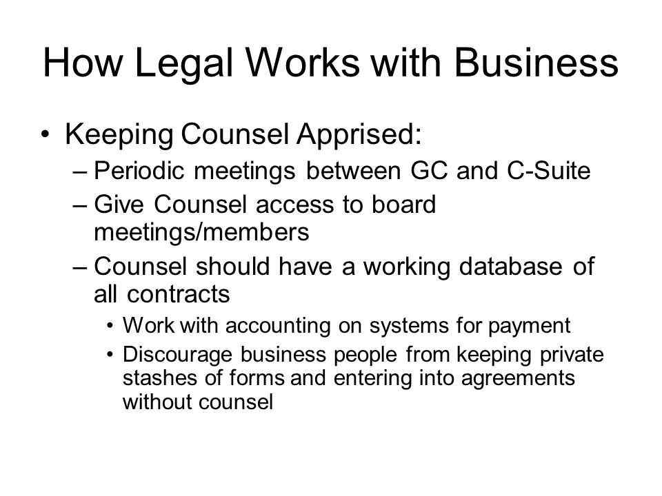 How Legal Works with Business