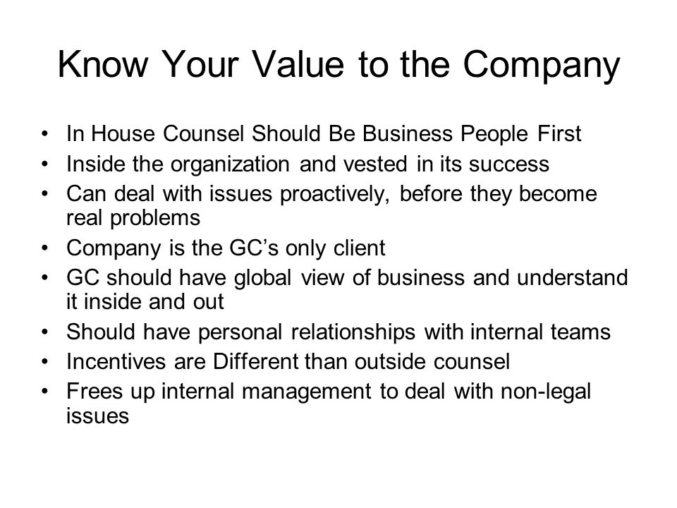 Know Your Value to the Company