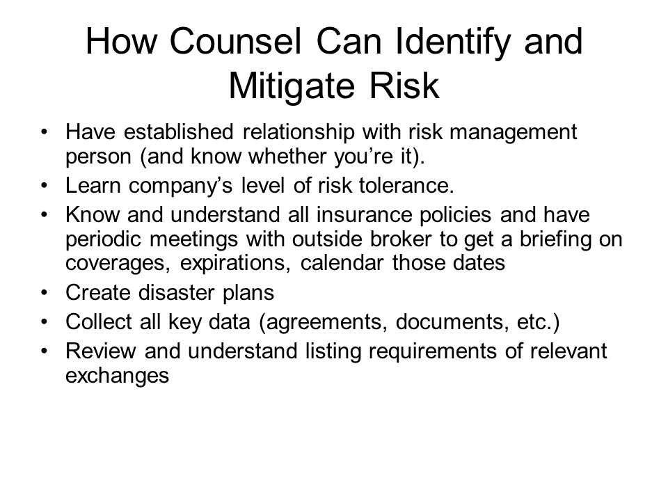 How Counsel Can Identify and Mitigate Risk