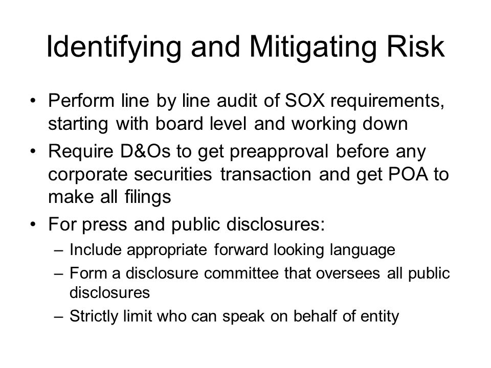 Identifying and Mitigating Risk