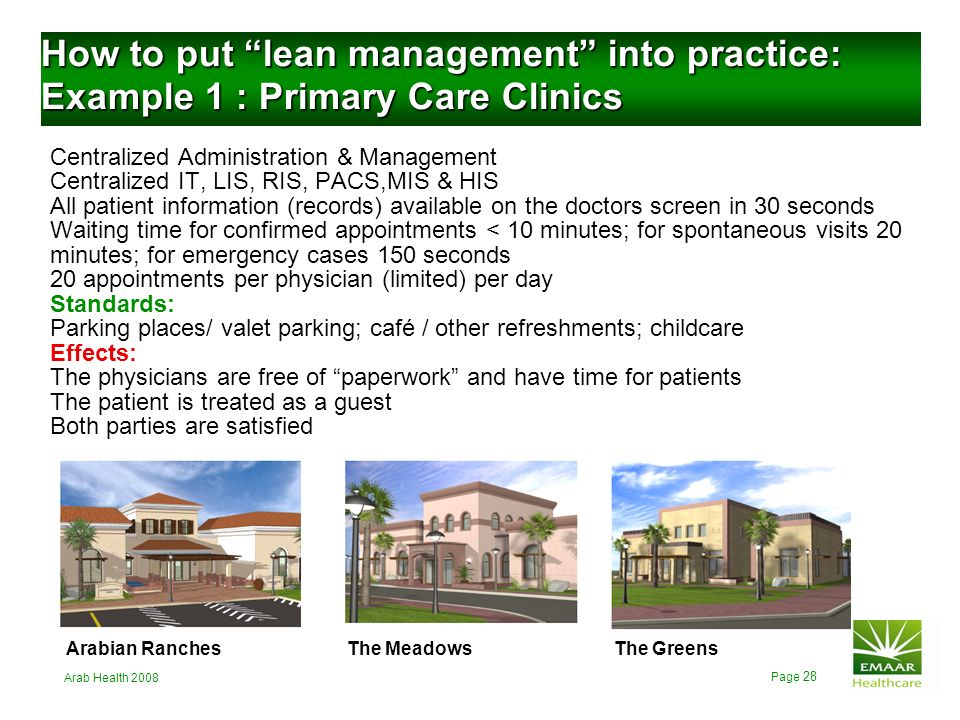 How to put lean management into practice: Example 1 : Primary Care Clinics