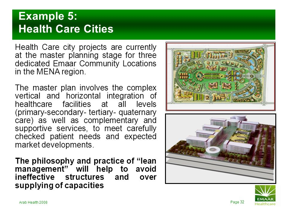 Example 5: Health Care Cities