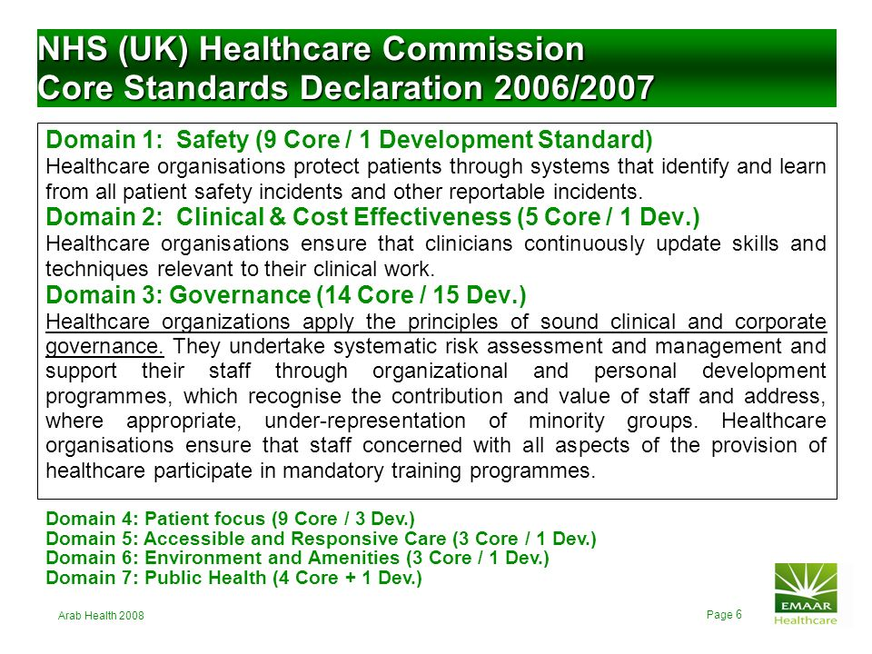 NHS (UK) Healthcare Commission Core Standards Declaration 2006/2007
