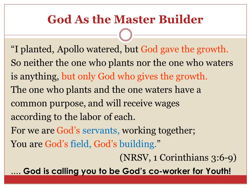 God As the Master Builder