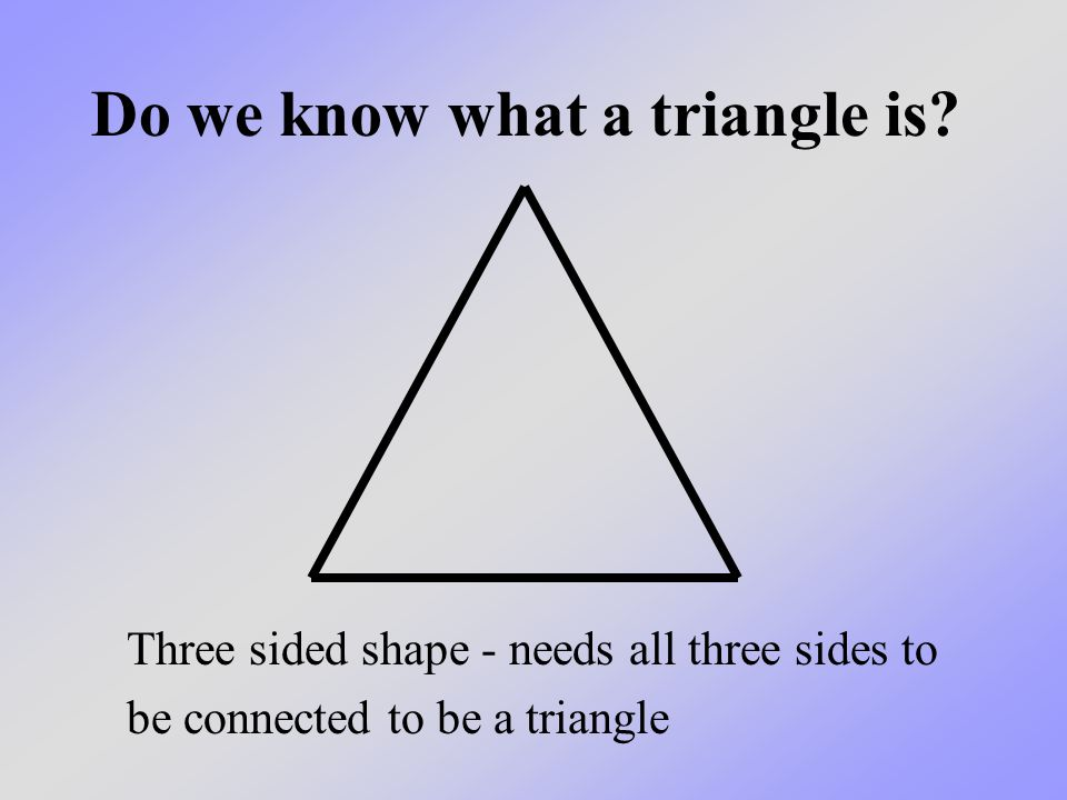 The same way that the three lines have to be connected to form a triangle, the heat, fuel and oxygen have to be connected to cause a fire.