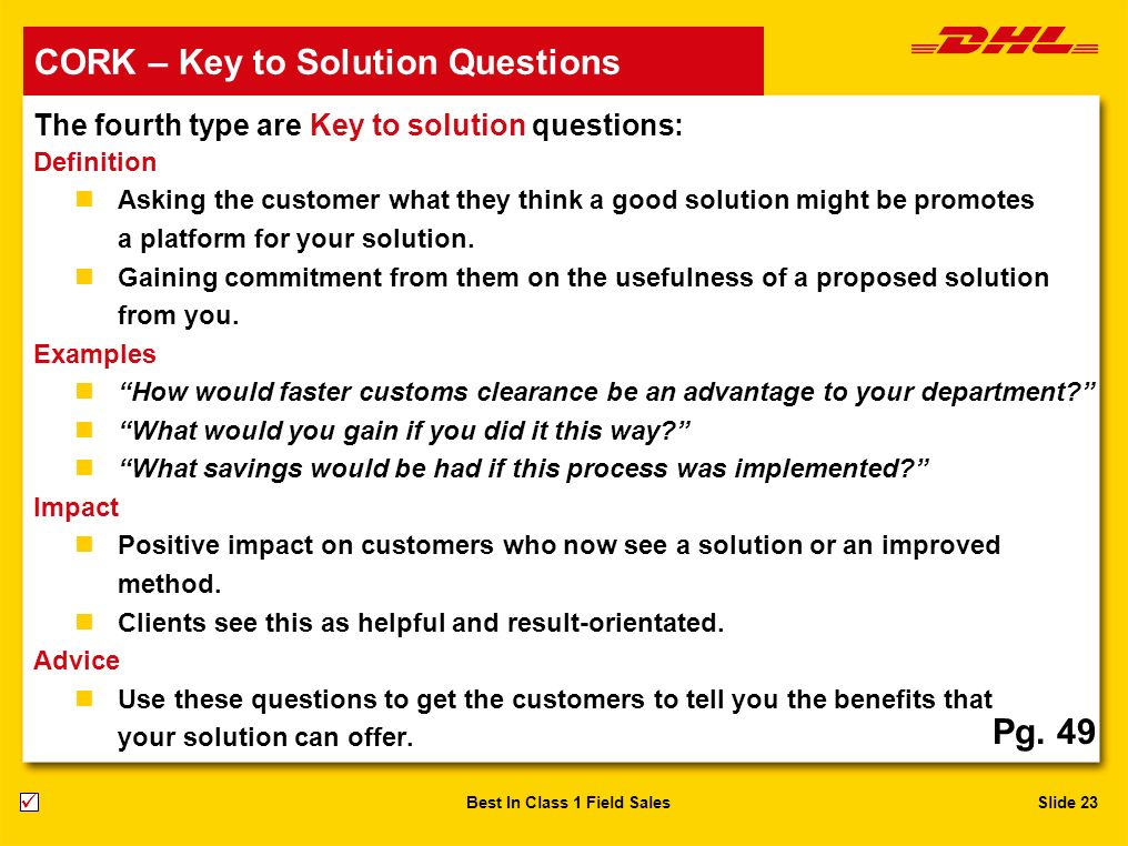 CORK – Key to Solution Questions