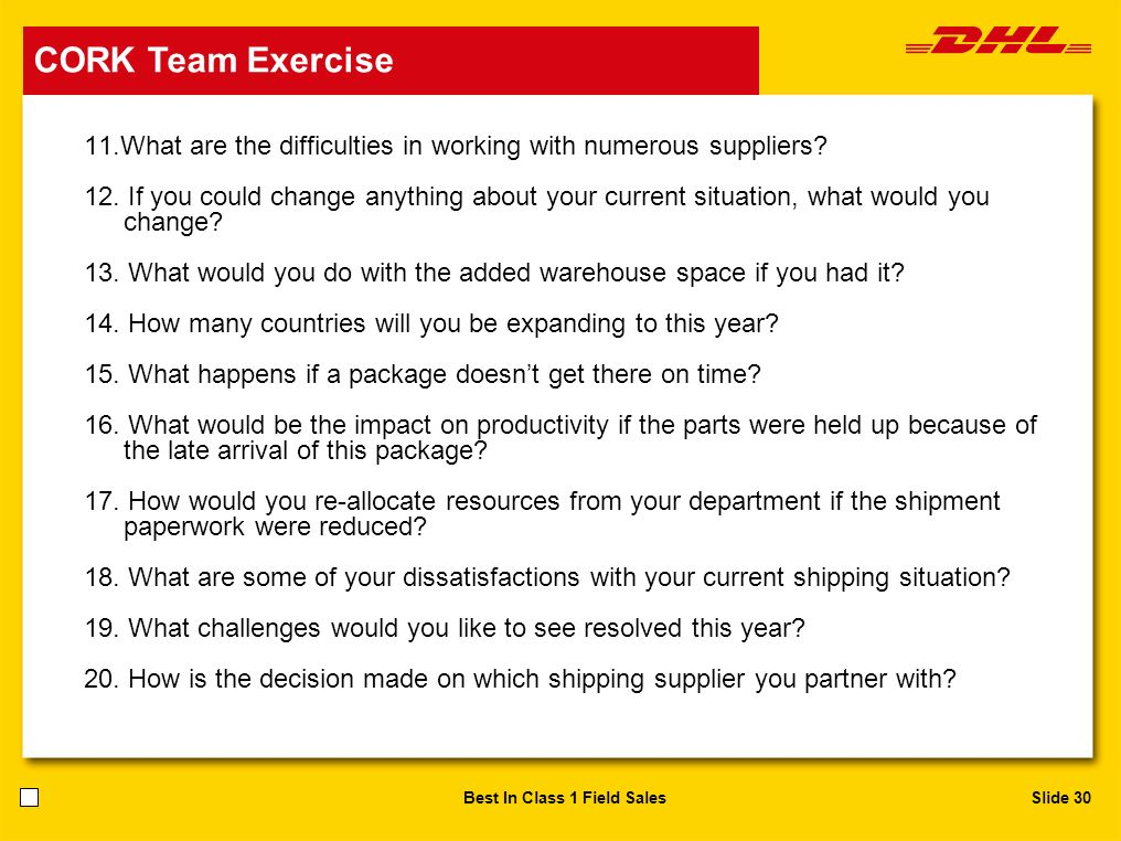 CORK Team Exercise CORK Team Exercise