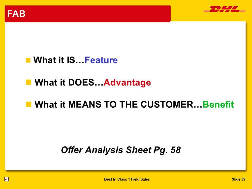 Offer Analysis Sheet Pg. 58