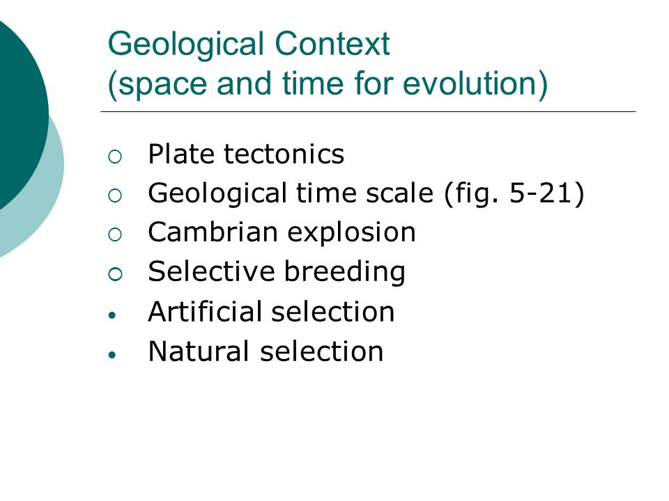 Geological Context (space and time for evolution)