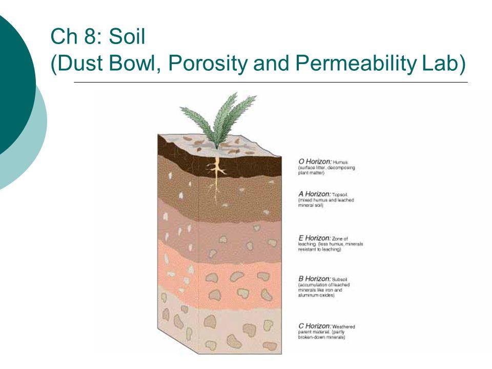 Ch 8: Soil (Dust Bowl, Porosity and Permeability Lab)