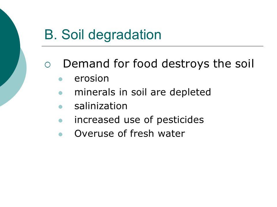 B. Soil degradation Demand for food destroys the soil erosion