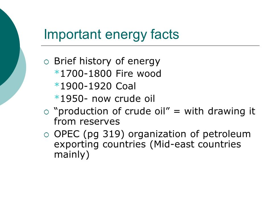 Important energy facts