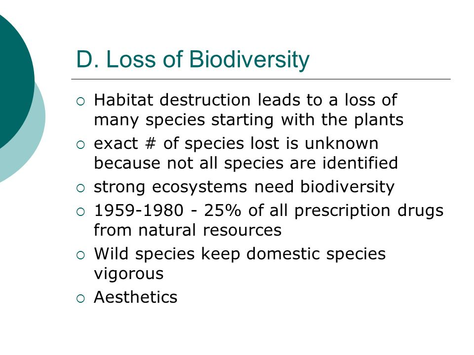 D. Loss of Biodiversity Habitat destruction leads to a loss of many species starting with the plants.