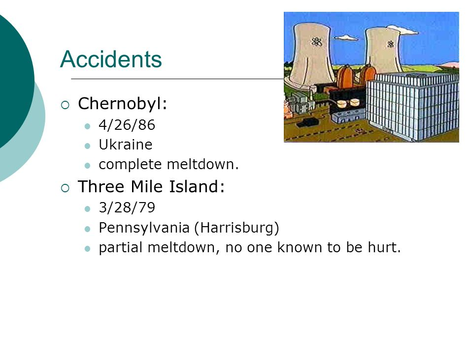 Accidents Chernobyl: Three Mile Island: 4/26/86 Ukraine