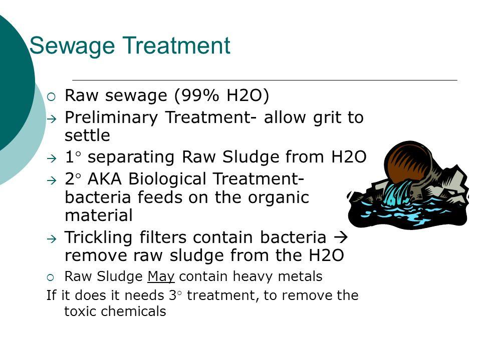 Sewage Treatment Raw sewage (99% H2O)
