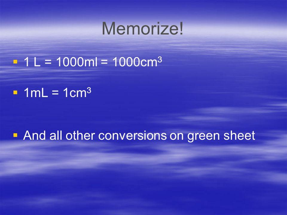 Memorize! 1 L = 1000ml = 1000cm3 1mL = 1cm3