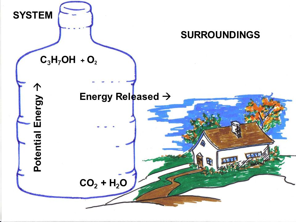 SYSTEM SURROUNDINGS C3H7OH + O2 Energy Released  Potential Energy  CO2 + H2O