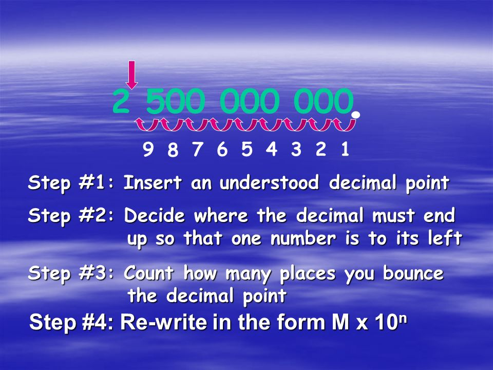 . 2 500 000 000 Step #4: Re-write in the form M x 10n 9 8 7 6 5 4 3 2