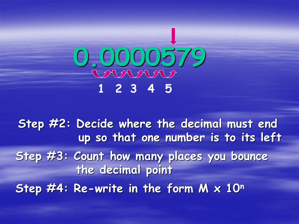 0.0000579 1 2 3 4 5 Step #2: Decide where the decimal must end